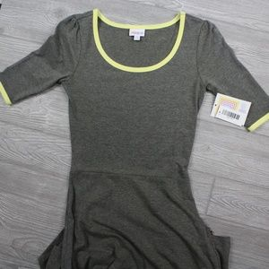 LuLaRoe Ana Long Maxi Dress Grey Yellow Size XS